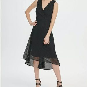 Dkny Dresses - DKNY Black V Neck Square Mesh Midi Dress